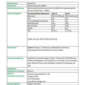 Dextro Energy Liquid Gel Sports Nutrition Lemon with Coffein 18 x 60ml